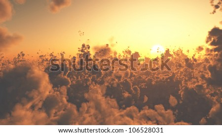 Aerial view of beautiful cloudscape at sunset - stock photo