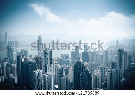 aerial view of beautiful hongkong at daytime in victoria peak - stock photo