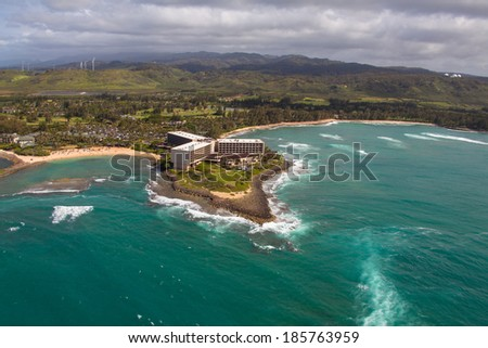 Aerial view of beautiful Oahu coastline  - stock photo