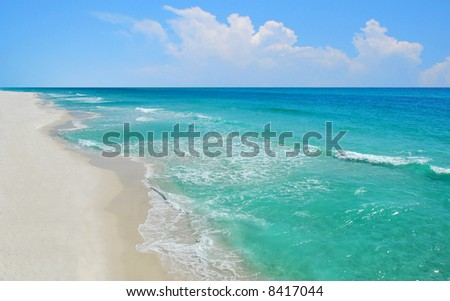 Aerial view of beautiful ocean and deserted beach - stock photo