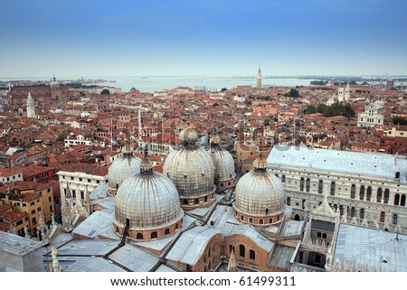 Aerial view of beautiful old roof in venice city - stock photo