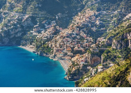 Aerial view of beautiful Positano village in Campania, Italy - stock photo