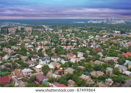 Aerial view of beautiful private houses in Ukraine - stock photo