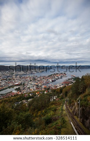 Aerial View of Bergen/Aerial View of Bergen - stock photo