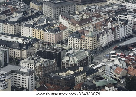 Aerial view of Bergen city in Norway  - stock photo