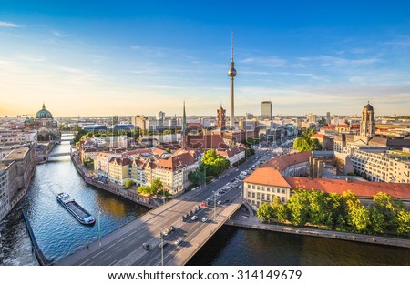 Aerial view of Berlin skyline and Spree river in beautiful evening light at sunset in summer, Germany - stock photo