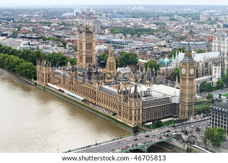 Aerial view of Big Ben and House of Parliament - stock photo