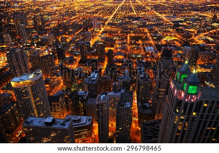 Aerial view of big city at night, Chicago, USA - stock photo