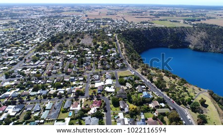 Aerial View of Blue Lake and Mount Gambier town, South Australia