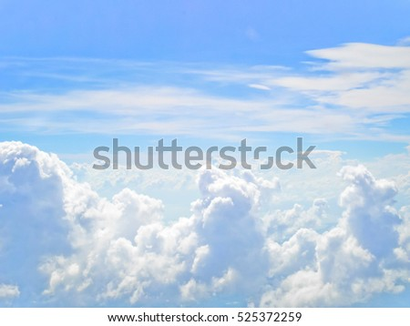 Aerial view of blue skies and white clouds background