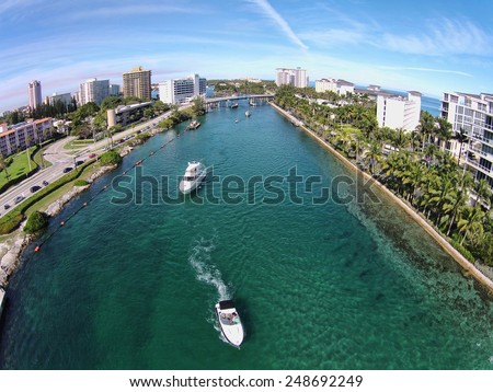 Aerial view of boating inlet in Boca Raton, Florida - stock photo