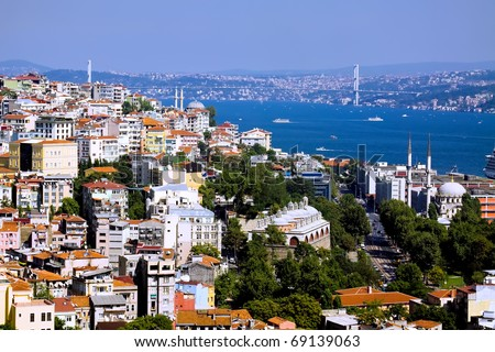 Aerial view of Bosphorus bridge from Galata tower in Istanbul - stock photo
