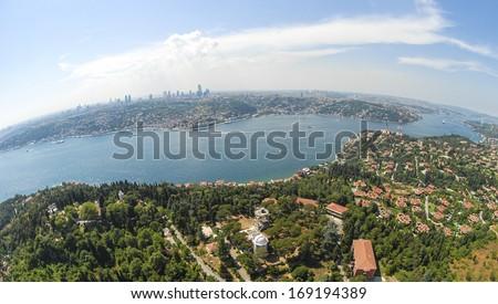 Aerial view of Bosphorus in Istanbul - stock photo