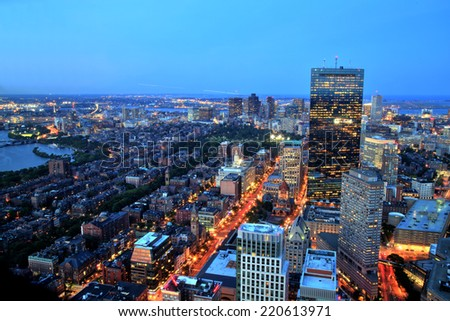 Aerial view of Boston at dusk - stock photo