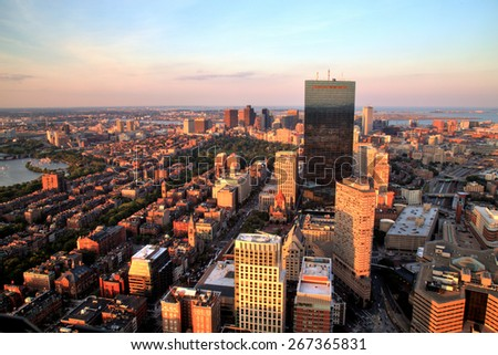 Aerial view of Boston at sunset - stock photo