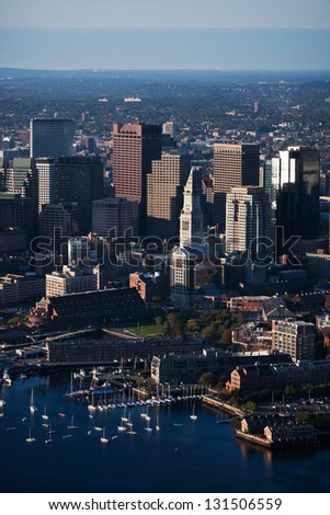 Aerial view of  Boston Harbor with Custom House Tower in Boston, MA