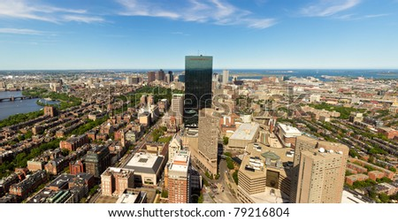 Aerial view of Boston in Massachusetts in the summer season. - stock photo