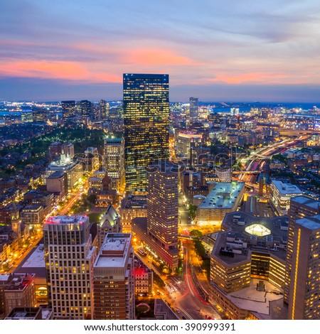 Aerial view of Boston in Massachusetts, USA. - stock photo