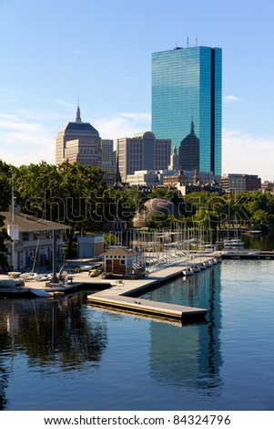 Aerial view of Boston in Massachusetts, USA. - stock photo