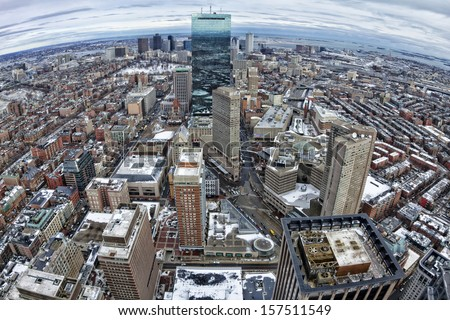 Aerial view of Boston in Massachusetts, USA in the winter season. - stock photo