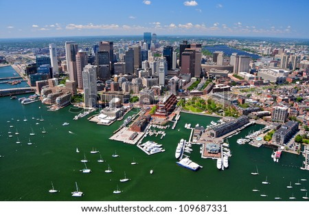 Aerial view of Boston, MA, USA - stock photo