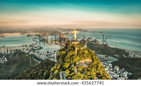 Aerial view of Botafogo Bay from high angle, Rio De Janeiro - stock photo
