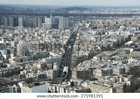 Aerial view of Boulevard Garibaldi in Paris, France,  with stations La Motte-Picquet Grenelle, Cambronne, Sevres-Lecourbe and Dupleix on Metro line 6. - stock photo