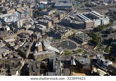 aerial view of Bradford city centre, Yorkshire, UK