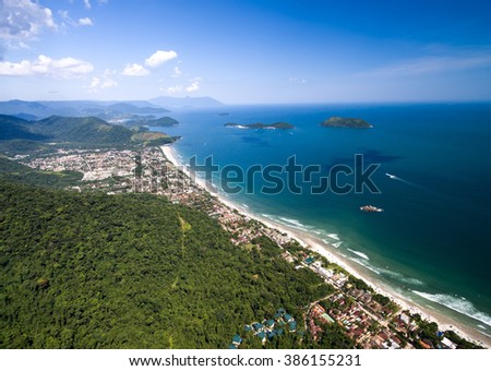 Aerial View of Brazilian Coast, Sao Sebastiao