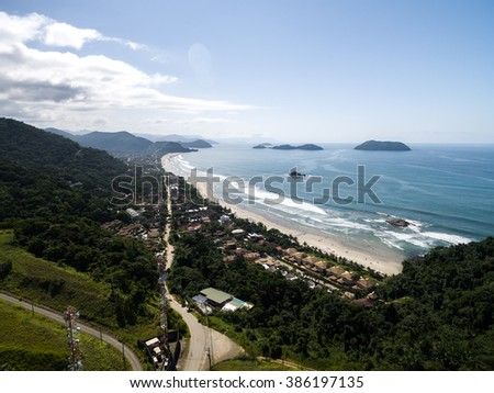 Aerial View of Brazilian Coast, Sao Sebastiao - stock photo