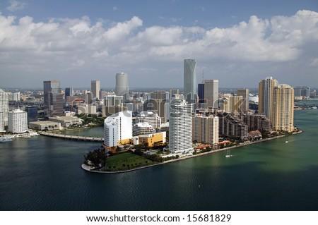 aerial view of Brickell Island, Miami - stock photo