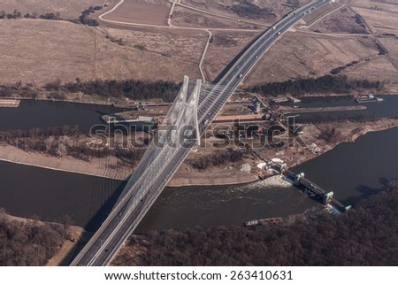aerial view of bridge Wroclaw city in Poland