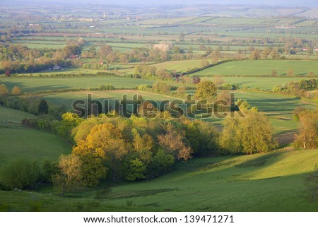 Aerial view of British countryside at sunset - stock photo
