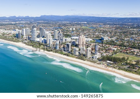Aerial view of  Broadbeach on the Gold Coast, Queensland Australia - stock photo