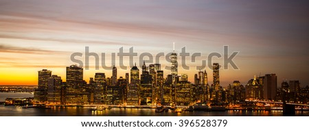 Aerial view of Brooklyn and Manhattan Bridge over East River, and midtown Manhattan Skyline from Brooklyn Heights - stock photo