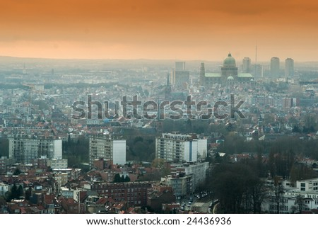 aerial view of Brussels, Belgium. graduated colored filter used to give mood to the photo. - stock photo