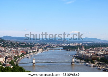 Aerial view of Budapest with Danube River in the center, Hungarian Parliament Building on the right, and the Chain Bridge and Margaret Bridge across Danube River - stock photo