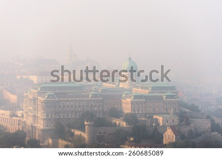 Aerial view of Budapest with large houses closeup
