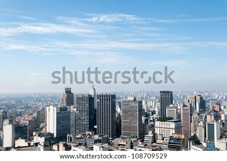 Aerial view of buildings close to the Anhangabau valley in the city of sao paulo - stock photo