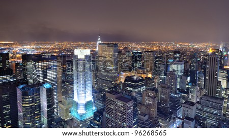 Aerial view of buildings in New York City. - stock photo