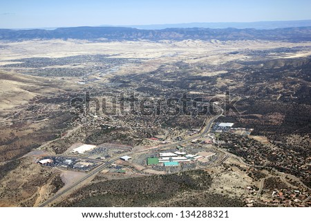 Aerial view of business and homes along Highway 69 in Prescott, Arizona - stock photo