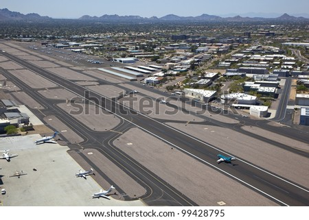 Aerial view of busy Scottsdale, Arizona Airport - stock photo