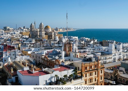 Aerial view of Cadiz from Torre Tavira, Andalucia, Spain - stock photo