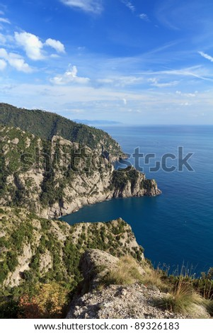 aerial view of Cala dell`Oro and San Fruttuoso bay in Portofino natural park, Italy