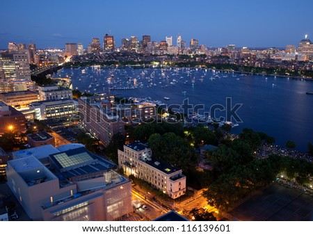 Aerial view of Cambridge and Boston's Back Bay - stock photo