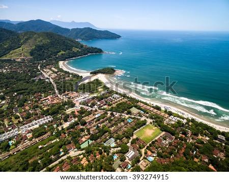 Aerial View of Camburi Beach, Sao Paulo, Brazil - stock photo