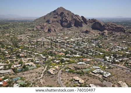 Aerial view of Camelback Mountain and surrounding Paradise Valley and Scottsdale, Arizona
