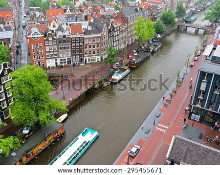 Aerial view of canals of Amsterdam, Netherlands - stock photo