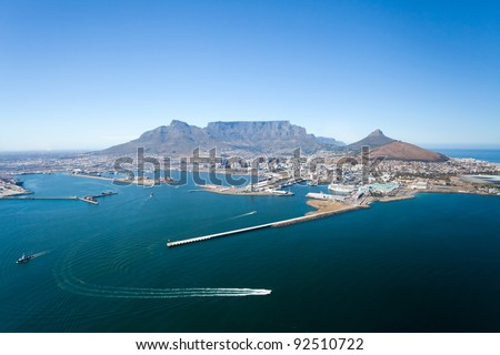 aerial view of Cape Town and table mountain, South Africa - stock photo