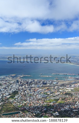 Aerial view of Cape Town from Table Mountain, South Africa - stock photo